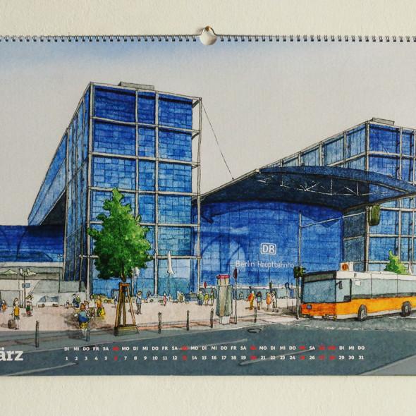 Kalenderblatt März: Berlin Hauptbahnhof im Bahnhofkalender der Deutschen Bahn 2016