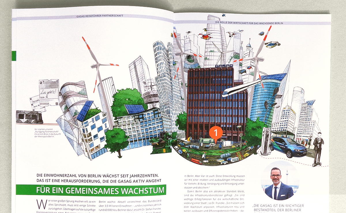 Illustration einer Smart City als Fotomontage für GASAG-Magazin