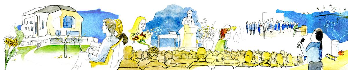 Live erstellte Illustration einer Generalversammlung im Goetheanum