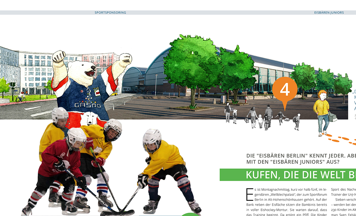 Illustration der Eisbären Berlin als Fotomontage vor Sporthalle für GASAG-Magazin
