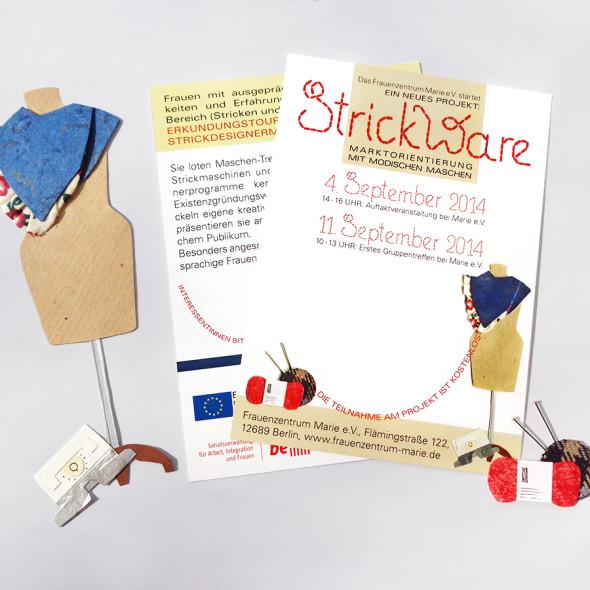 Postkarte: Einladung zum Projekt StrickWare. Collage (Papier, Stoff und Kurzwaren)
