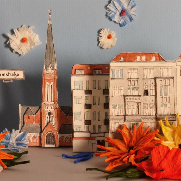 """illustrierte Postkarte """"Die Turmstraße blüht auf"""", Tusche, Collage und Fotografie"""