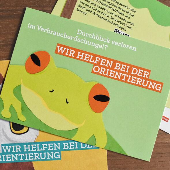 Postkarten mit verschiedenen Motiven: Frosch, Eule und Rückseite