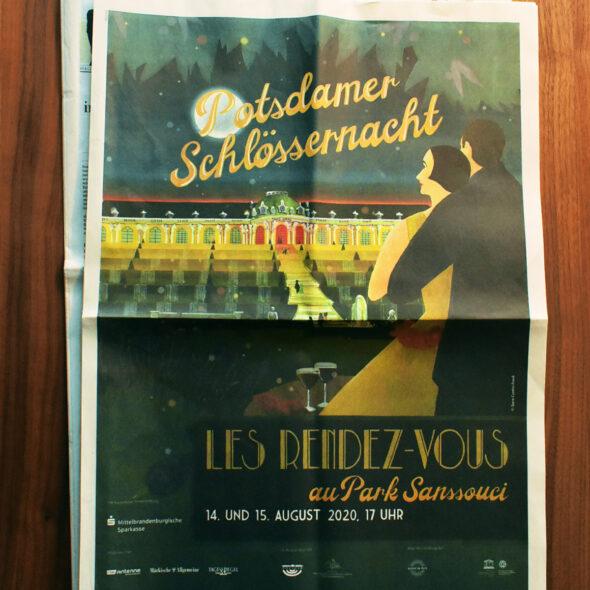 Tagesspiegel: vollseitige Illustration zur Bewerbung der Potsdamer Schlössernacht 2020