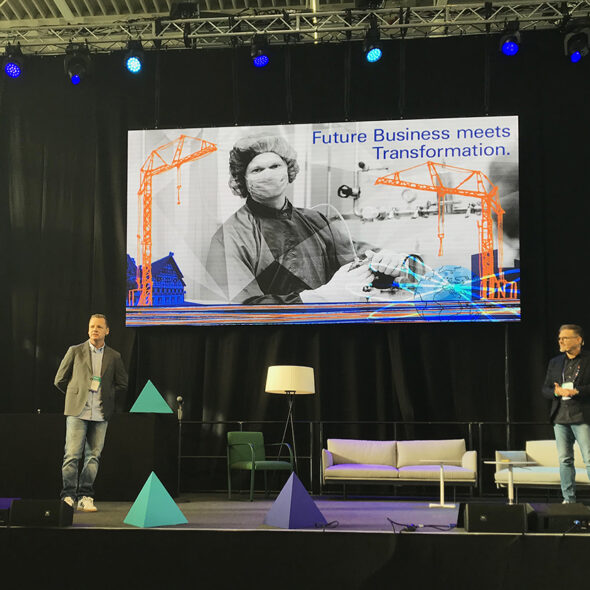 "Illustration ""Future Business meets Transformation"" bei Vortrag auf der Bitzilla Conference 2019. Foto: Tamara Ries"