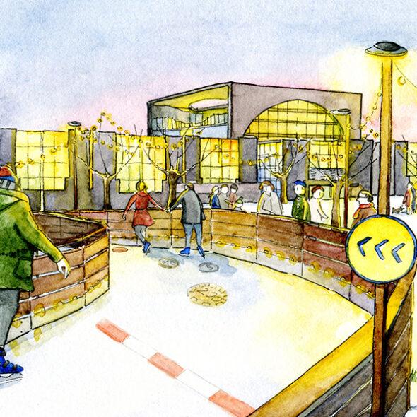 """Visualisierung der Szene """"Eisbahn"""": Schlittschuhläufer vor dem Kanzleramt"""